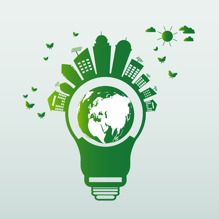 Ecology energy saving light bulb,Green cities help the world with eco-friendly concept ideas.vector illustration Illustration