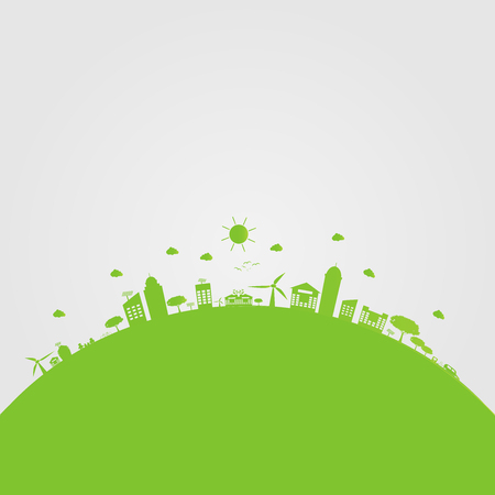 Green cities help the world with eco-friendly concept ideas.vector illustration