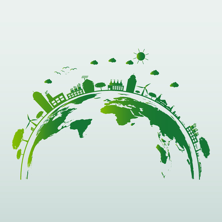 Ecology energy saving light bulb,Green cities help the world with eco-friendly concept ideas.vector illustration Stock Illustratie