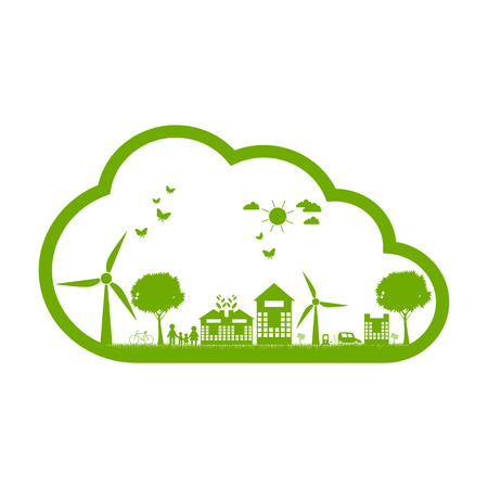ecology concept.Green cities help the world with eco-friendly concept idea.with globe and tree background.vector illustration