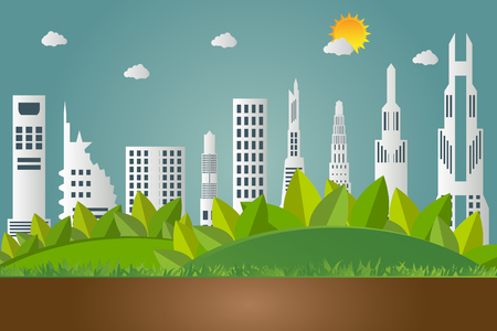 Green earth concept with leaves.Ecology cities help the world with eco-friendly concept ideas