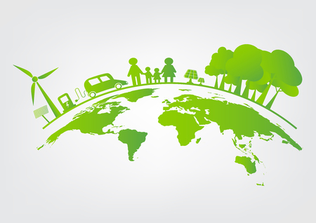 Ecology,tree on earth cities help the world with eco-friendly concept ideas.vector illustration