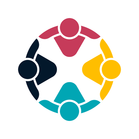 Group people logo handshake in a circle, teamwork icon. Vector illustration.