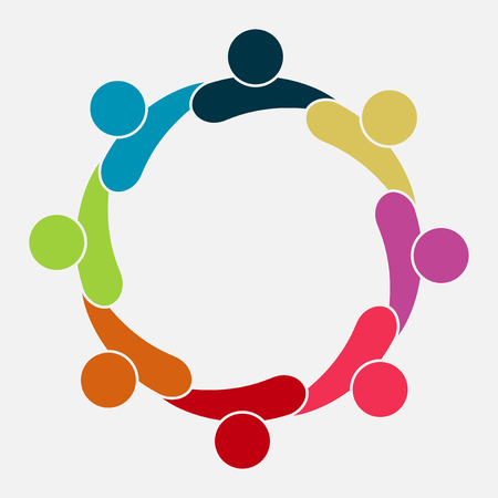 Vector graphic group connection logo. Eight people in the circle. Logo team work, vector illustration Çizim