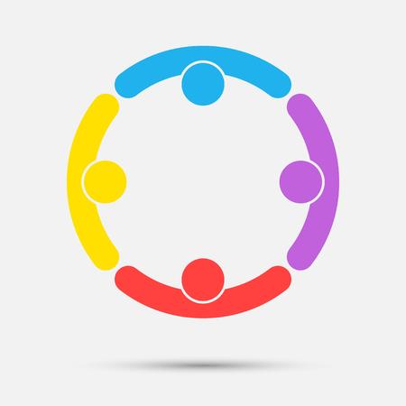 Logotipo de la gente de la sala de reuniones. Grupo de cuatro personas en círculo
