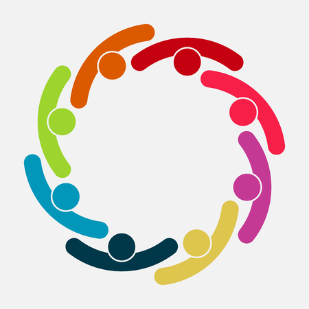 Vector graphic group connection logo. Eight people in the circle. Logo team work