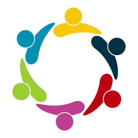 Groupe de six personnes en cercle. Se tenant la main. Les travailleurs du sommet se réunissent dans la même salle de puissance