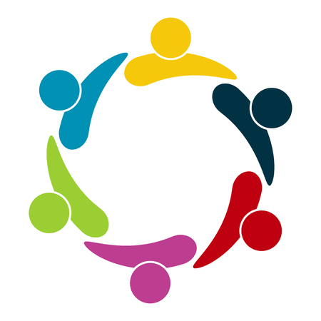Grupo de seis personas en círculo. Tomados de la mano. Los trabajadores de la cumbre se reúnen en la misma sala de poder