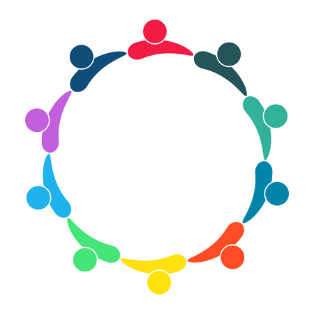 Group of ten persons in circle. holding hands. The summit workers are meeting in the same power room. Vector illustration