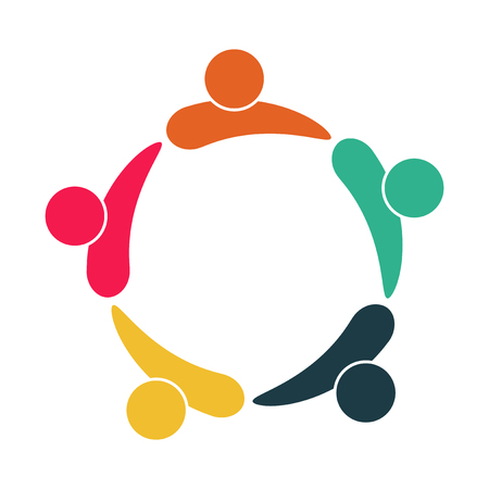 Logo della gente della sala riunioni. Gruppo di quattro persone in cerchio. Illustrazione vettoriale