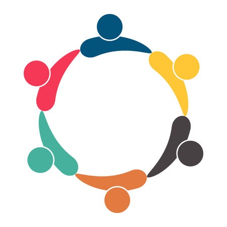 Meeting teamwork room people logo. Group of six persons in circle. Vector illustration