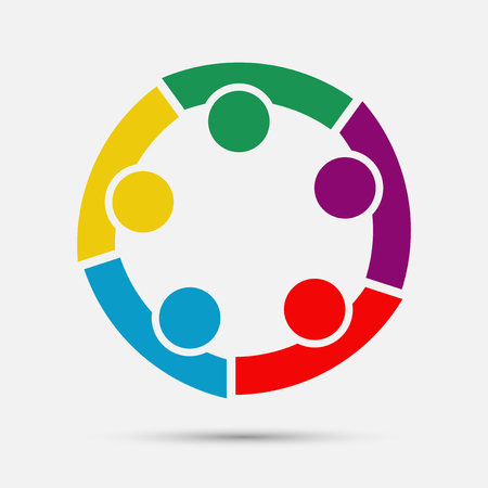 Group of five people in a circle. Teamwork meeting. People are meeting in the room. Powerful combined forces. Ilustración de vector