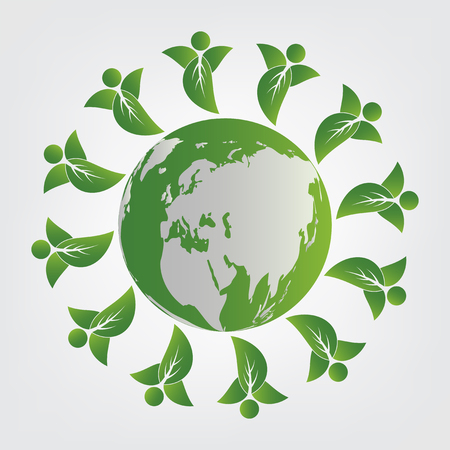 ecology concept.green teamwork leaves with around the globe.Vector illustration