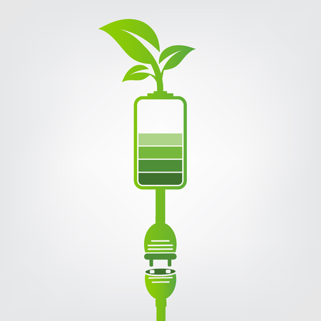 Green earth Concept Power plug leaves ecology battery emblem.Vector illustration