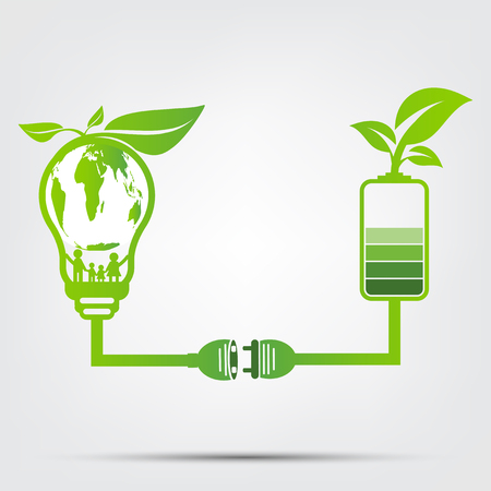 family ecology concept in the world is in the energy saving light bulb green.Power plug leaves ecology battery green.vector illustration