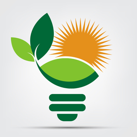 Symbol ecology bulb logos of green with sun and leaves nature element icon on white background. Vector illustrator