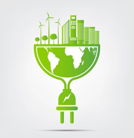 Energy ideas save the world concept power plug green ecology, vector illustration Ilustrace