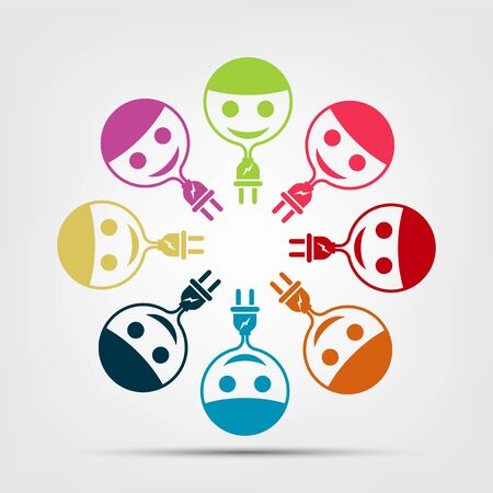 Graphic group power plug connection logo. Eight people in the circle. Team work, vector illustration Ilustrace