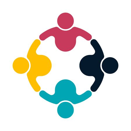 Group people logo handshake in a circle, teamwork icon, vector illustrator