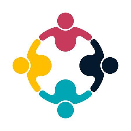 Stretta di mano del logo della gente del gruppo in un cerchio, icona del lavoro di squadra, illustratore di vettore