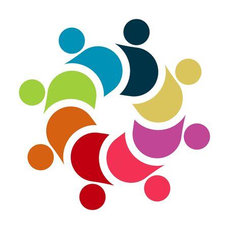 Vektorgrafik-Gruppenverbindungslogo. Acht Leute im Kreis. Logo-Teamarbeit, Vektor-Illustration