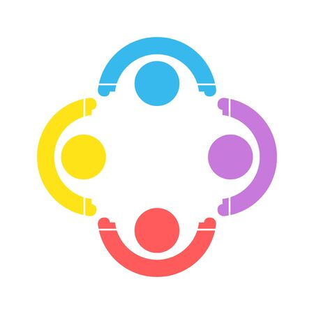 Group four people sign handshake in a circle, Teamwork icon. vector illustrator