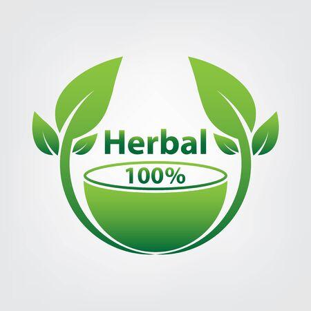 modello di logo verde a base di erbe, a base di erbe su sfondo bianco Logo