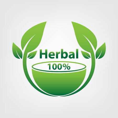 zielony szablon logo ziołowy, ziołowy na białym tle Logo