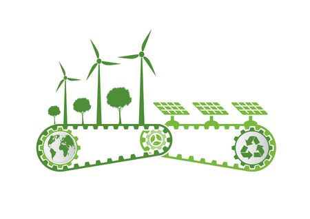 Ecology Saving Gear Concept And Environmental Sustainable Energy Development, Vector illustration 向量圖像