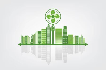 Ecology and Fan Concept, Earth Symbol With Green Leaves Around Cities Help The World With Eco-Friendly Ideas