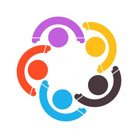 Group of five people in a circle. Teamwork meeting. people are meeting in the room. Powerful combined forces.  イラスト・ベクター素材