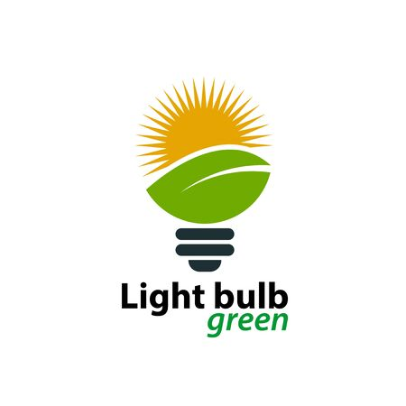 Ecology light bulb green logo icon design template on White Background, Vector Illustration