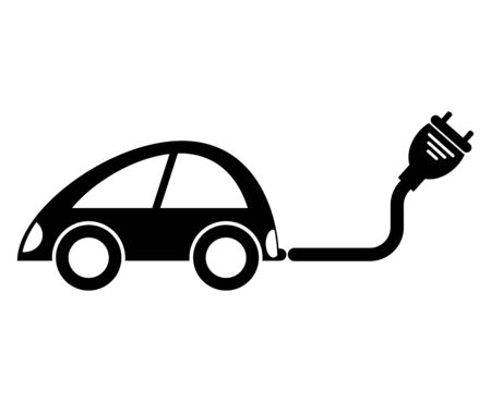 Car charger icon, Refuel cars Isolate On Black Background, Vector Illustration Иллюстрация
