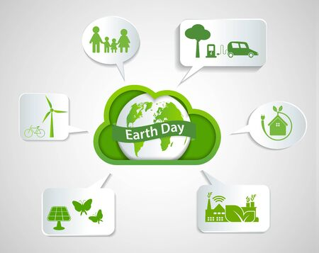 Cloud Ecology earth day concept and environment With Eco-Friendly Ideas, Vector Illustration