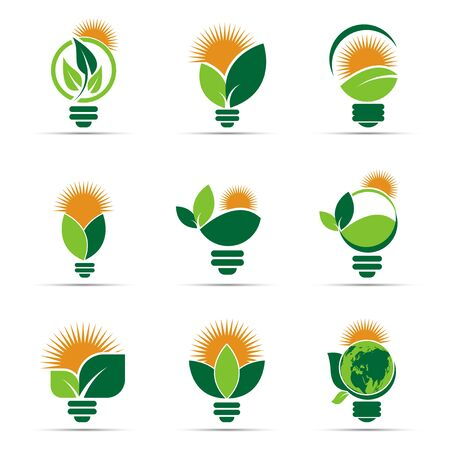 symbol ecology bulb logos of green with sun and leaves nature element icon on white background. vector illustrator Illusztráció