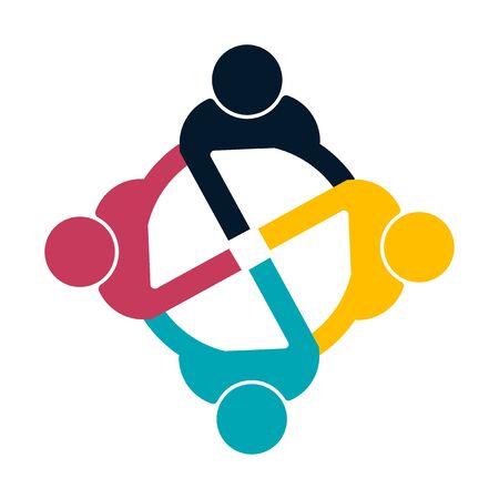 Groupe de personnes logo poignée de main dans un cercle, icon.vector de travail d'équipe illustrateur Logo