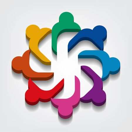 Group of eight people logo in a circle.Persons teamwork holding point of view 3D