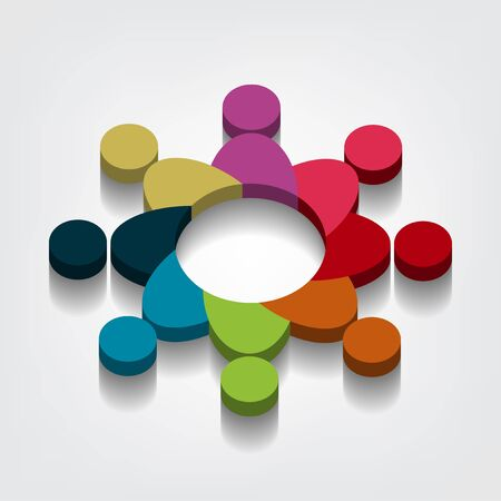 Group of eight people logo in a circle. Persons teamwork holding point of view 3D