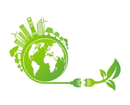 Les idées énergétiques sauvent le concept du monde Prise d'alimentation écologie verte