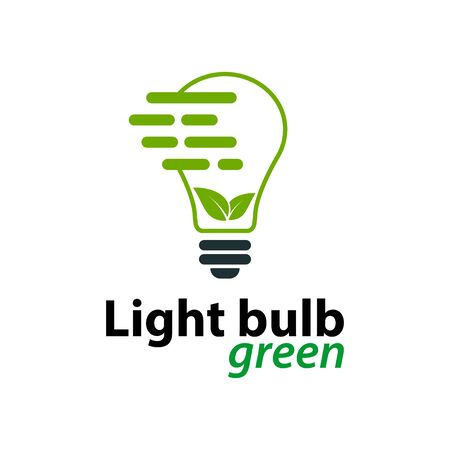 Ecology light bulb green logo icon design template on White Background, Vector Illustration