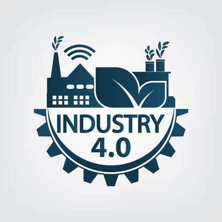 Industry 4.0 icon, logo factory, technology concept. vector illustration  イラスト・ベクター素材