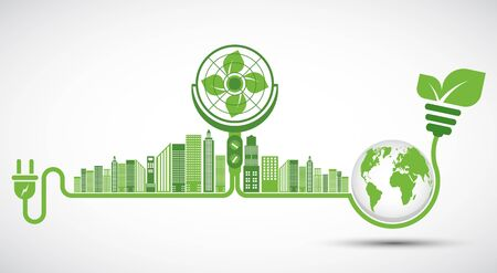 Ecology and Fan Concept,Earth Symbol With Green Leaves Around Cities Help The World With Eco-Friendly Ideas   イラスト・ベクター素材
