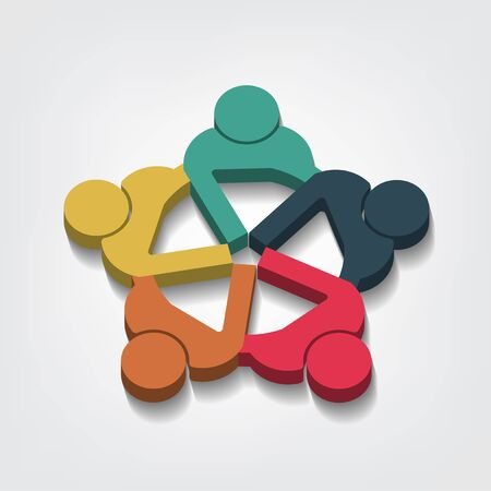 Group of five people logo in a circle. Persons teamwork holding point of view 3D