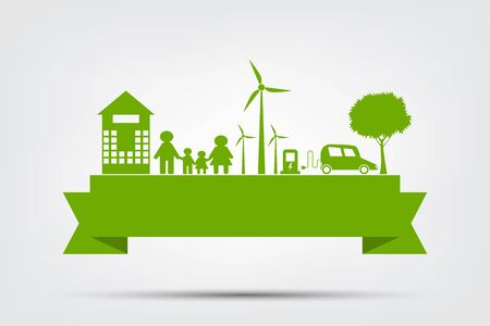Ecology town concept and environment With Eco-Friendly Ideas,Vector Illustration   イラスト・ベクター素材