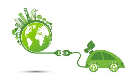 Energy ideas save the world concept Power plug green ecology recycle Foto de archivo - 131399663