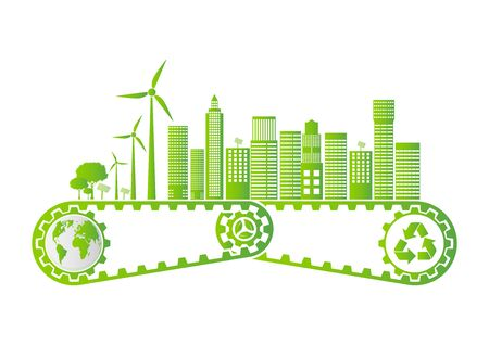 Ecology Saving Gear Concept And Environmental Sustainable Energy Development, Vector illustration  イラスト・ベクター素材