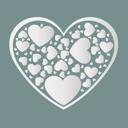 Beautiful white paper cut the heart with white frame. There are many small white hearts surrounded in a heart-shaped frame. Vector illustration Illusztráció