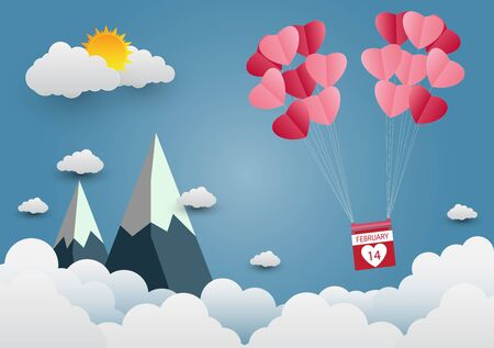 valentines Day balloon heart-shaped floating in the sky and beautiful mountains cloud.paper art.vector illustration  Illusztráció