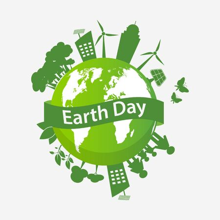Ecology earth day concept and environment With Eco-Friendly Ideas, Vector Illustration