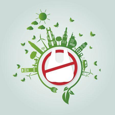 Ecology.Green las ciudades ayudan No hay bolsas de plástico ideas de concepto ecológico.Ilustración de vector